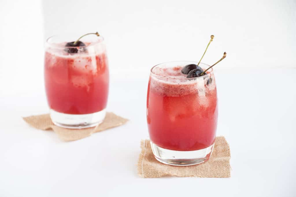 Refreshing cherry and lemon cocktail, healthy and sugar free. Perfect as a summers day drink. healthy cocktail recipe