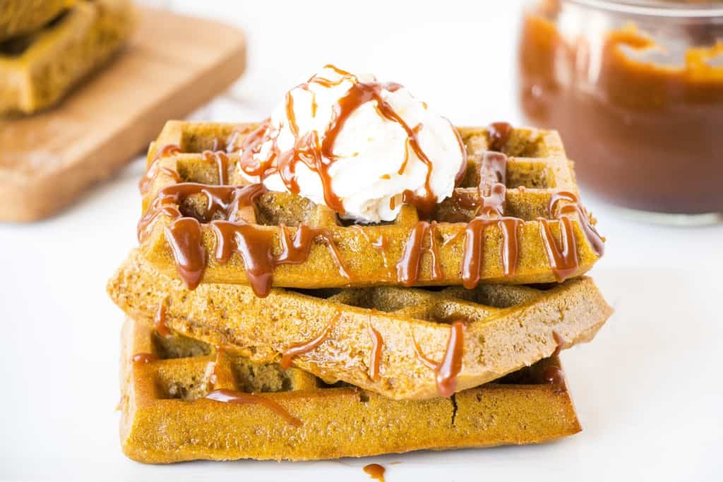 Healthy Pumpkin Waffles topped with Salted Caramel