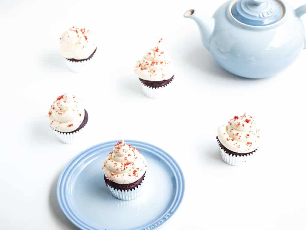 The Moistest Red Velvet Cupcakes with Cream Cheese Frosting