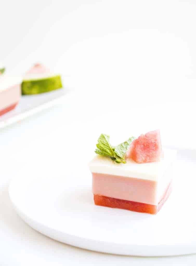 3 Layer Watermelon Gelatin Cubes