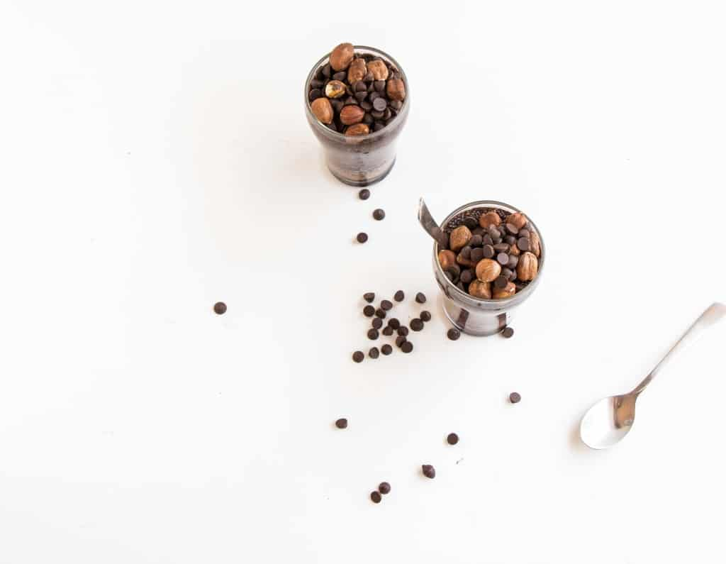 Easy healthy, vegan Chocolate Hazelnut Chia Pudding. The perfect on the go breakfast.