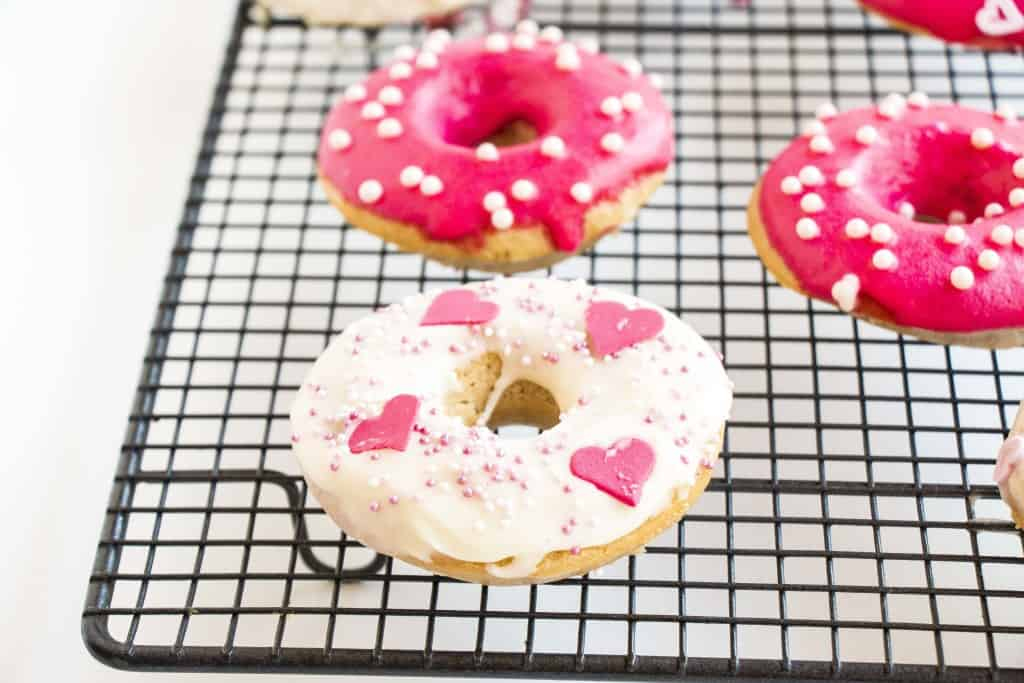 Healthy Valentines Vanilla Donuts. Vegan, low in fat and simply beautiful and delicious.