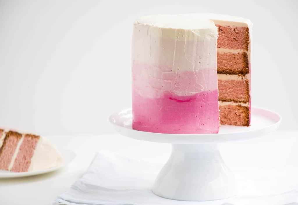 Champagne Ombre Cake & Soft Italian Meringue Buttercream - A deliciously delicate cake that has beautiful soft flavours and is perfect for valentines day or any birthday party.