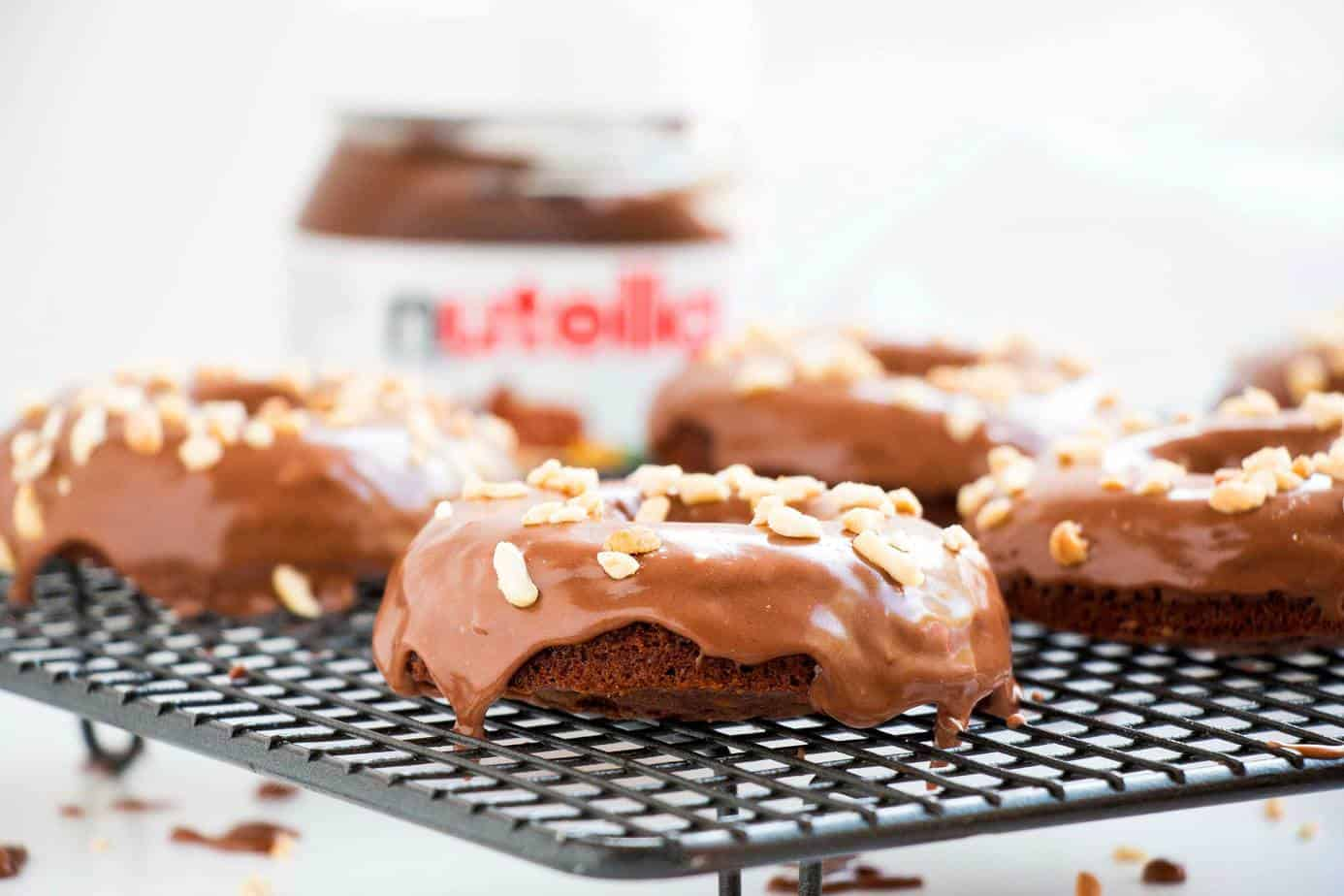 Baked Chocolate Cake Donuts Topped With Nutella Glaze