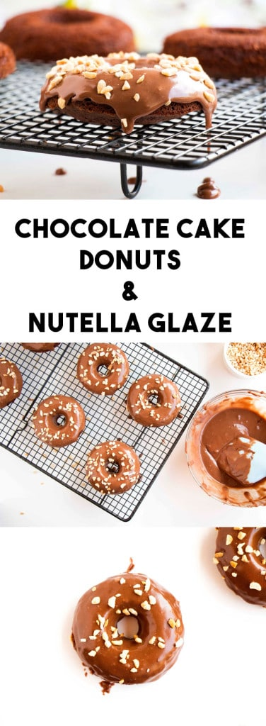 Baked Chocolate Cake Donuts Topped With Nutella Glaze - Easy and delicious donut recipe that will have everyone's mouth watering.