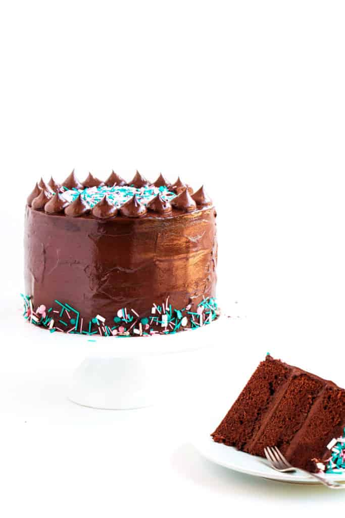 Dark Chocolate Sprinkle Cake - The most scrumptious dark chocolate cake recipe, topped with a creamy fudge frosting. The perfect cake for any and all occasions.