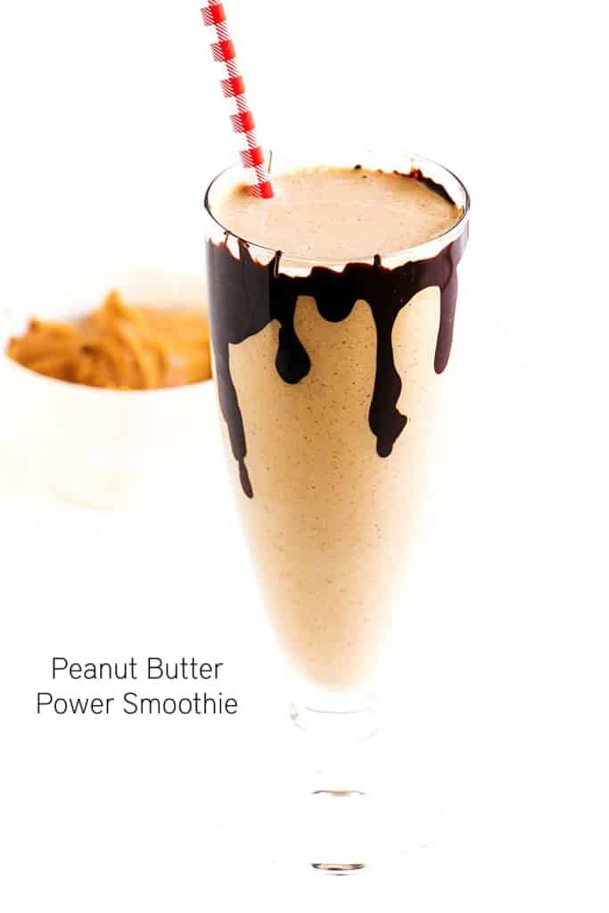Peanut Butter Power Smoothie - A delicious creamy smoothie recipe packed with tons of protein and flavour. It will keep you full and powered up the entire day. Vegan, gluten free and made with peanut butter, chia seeds and dark chocolate.