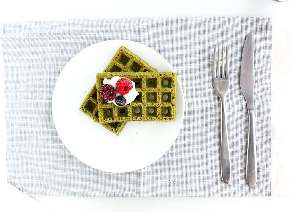 Matcha Gluten Free Waffles - A easy to make breakfast option with the delicious and healthy flavours of matcha.