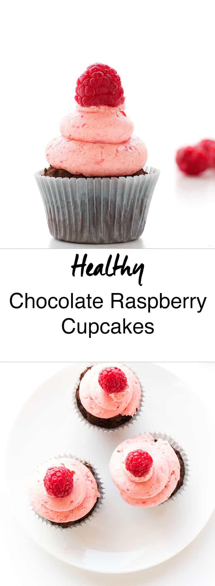 Healthy Chocolate Raspberry Cupcakes