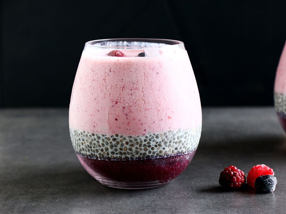 A healthy Layered Berry Smoothie Chia Pudding made with mixed berries, chia seeds and almond milk. The ultimate healthy, vegan and gluten free breakfast or snack.