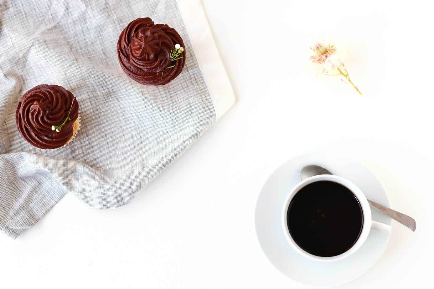 The ultimate go to cupcake recipe, these Easy Vanilla Cupcakes with Creamy Chocolate Frosting only take a few minutes to whip up and can be frozen for up to a few weeks! The only cupcake recipe you will ever need!