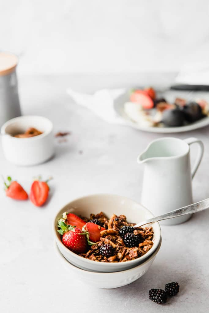 Crunchy, toasty Cinnamon Almond & Coconut Granola is the easiest and most delicious healthy, vegan snack or breakfast.